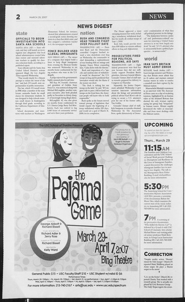 Daily Trojan, Vol. 160, No. 47, March 29, 2007