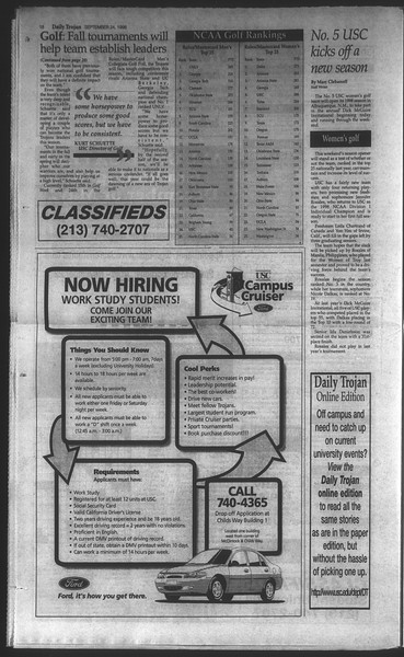 Daily Trojan, Vol. 135, No. 15, September 24, 1998