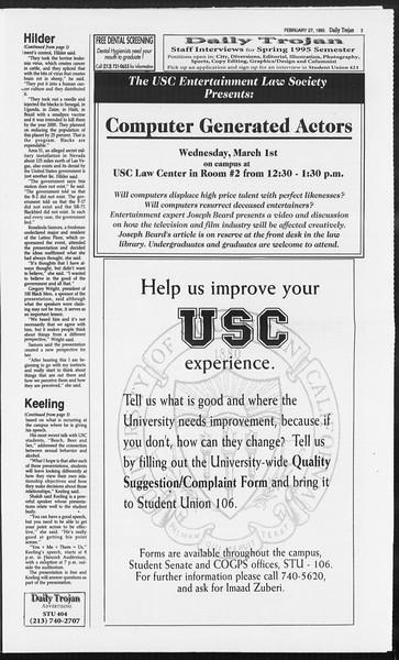 Daily Trojan, Vol. 124, No. 29, February 27, 1995