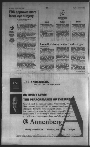 Daily Trojan, Vol. 135, No. 52, November 17, 1998