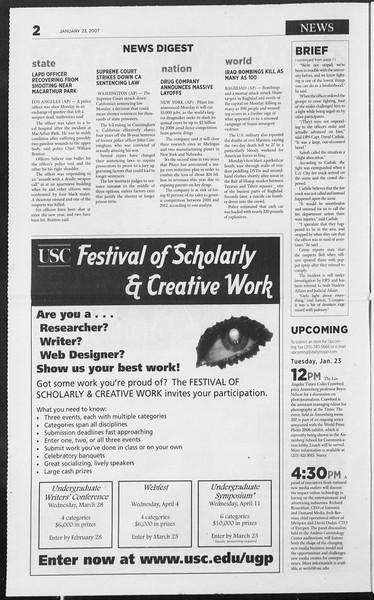 Daily Trojan, Vol. 160, No. 9, January 23, 2007