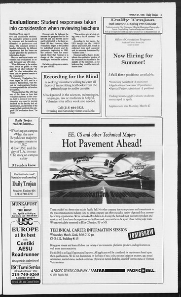 Daily Trojan, Vol. 124, No. 39, March 21, 1995