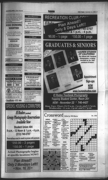 Daily Trojan, Vol. 135, No. 50, November 13, 1998