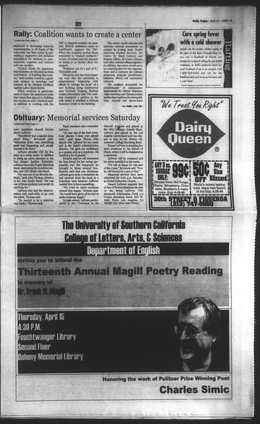 Daily Trojan, Vol. 136, No. 55, April 15, 1999