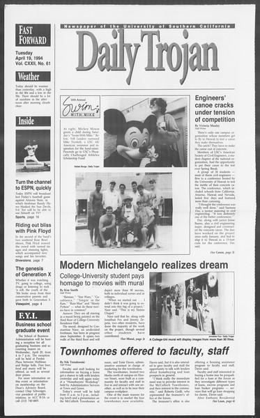 Daily Trojan, Vol. 122, No. 61, April 19, 1994