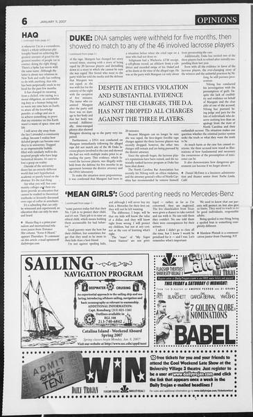 Daily Trojan, Vol. 160, No. 3, January 11, 2007