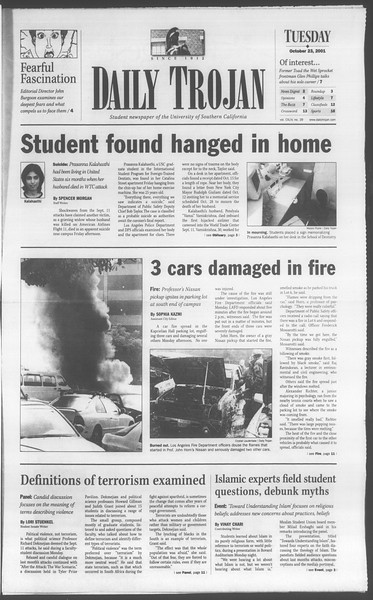 Daily Trojan, Vol. 144, No. 39, October 23, 2001
