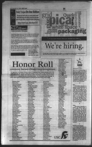 Daily Trojan, Vol. 135, No. 65, December 10, 1998