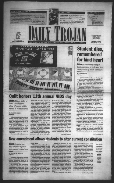 Daily Trojan, Vol. 135, No. 58, December 01, 1998
