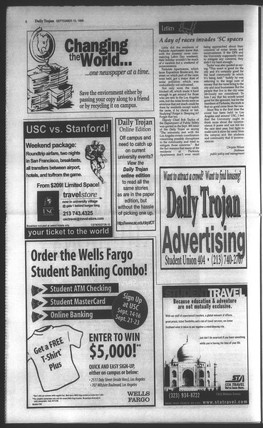 Daily Trojan, Vol. 135, No. 5, September 10, 1998