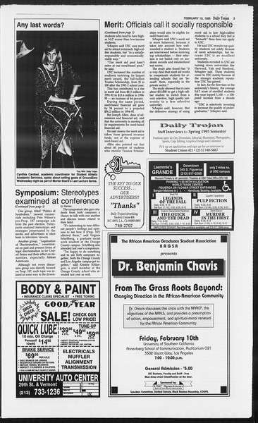 Daily Trojan, Vol. 124, No. 20, February 10, 1995