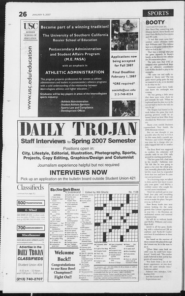 Daily Trojan, Vol. 160, No. 1, January 09, 2007