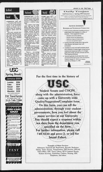 Daily Trojan, Vol. 124, No. 3, January 18, 1995
