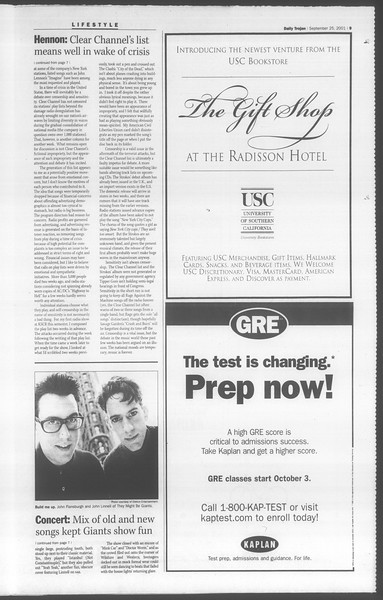 Daily Trojan, Vol. 144, No. 19, September 25, 2001