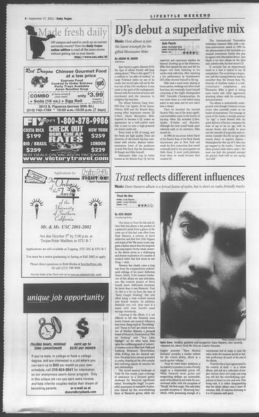 Daily Trojan, Vol. 144, No. 21, September 27, 2001