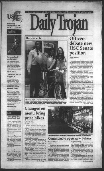 Daily Trojan, Vol. 135, No. 14, September 23, 1998