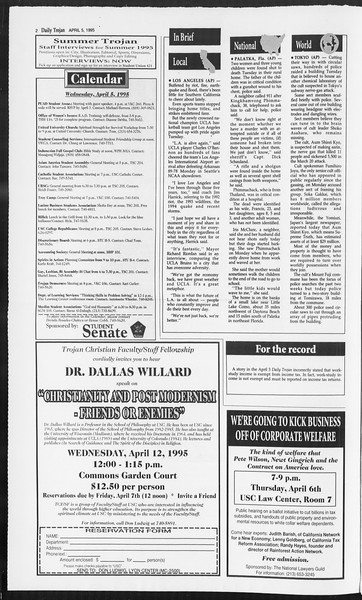 Daily Trojan, Vol. 124, No. 50, April 05, 1995