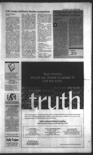 Daily Trojan, Vol. 135, No. 16, September 25, 1998