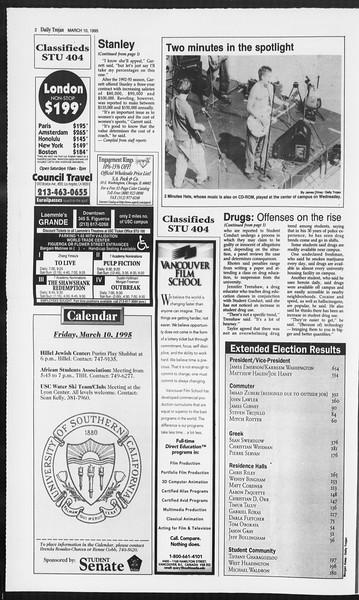 Daily Trojan, Vol. 124, No. 38, March 10, 1995