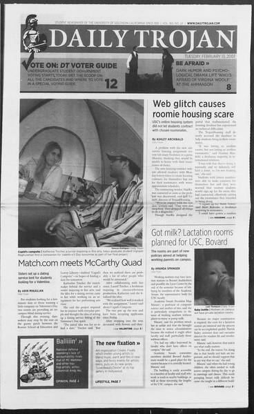 Daily Trojan, Vol. 160, No. 24, February 13, 2007