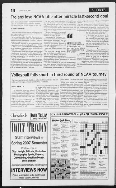 Daily Trojan, Vol. 160, No. 2, January 10, 2007