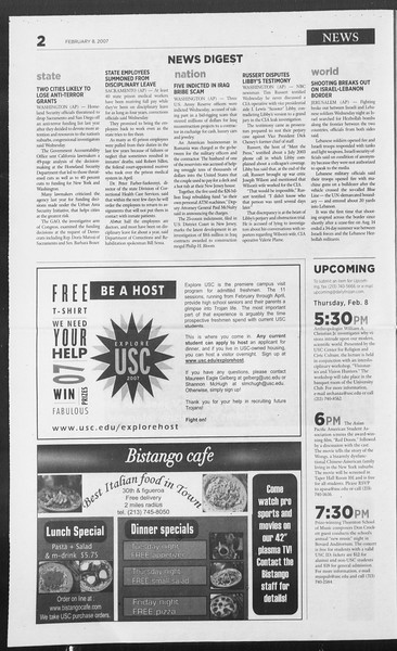 Daily Trojan, Vol. 160, No. 21, February 08, 2007