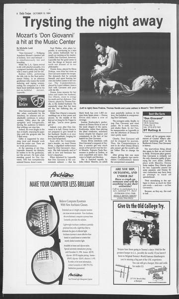 Daily Trojan, Vol. 123, No. 30, October 13, 1994