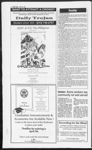 Daily Trojan, Vol. 124, No. 51, April 06, 1995