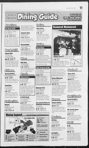 Daily Trojan, Vol. 160, No. 11, January 25, 2007