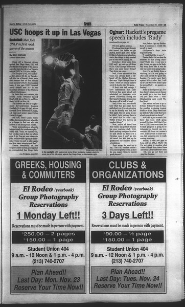 Daily Trojan, Vol. 135, No. 55, November 20, 1998
