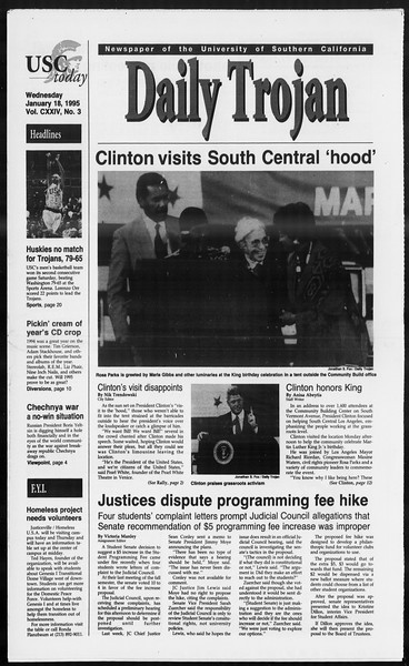 Daily Trojan, Vol. 124, No. 3, January 18, 1995