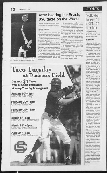 Daily Trojan, Vol. 160, No. 12, January 26, 2007