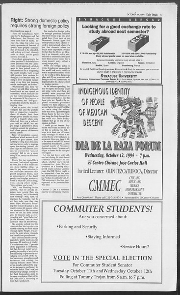 Daily Trojan, Vol. 123, No. 28, October 11, 1994