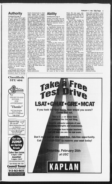 Daily Trojan, Vol. 124, No. 25, February 17, 1995