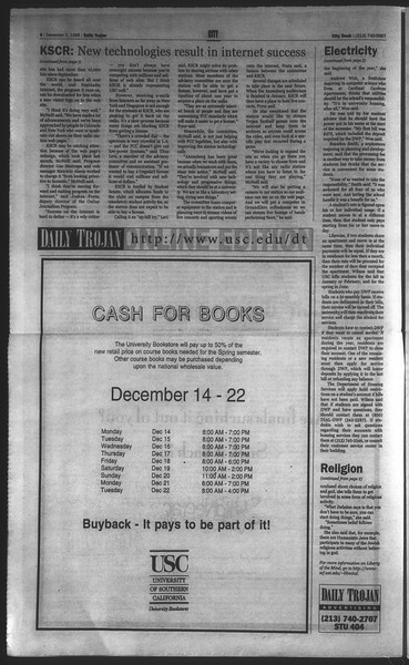 Daily Trojan, Vol. 135, No. 64, December 09, 1998