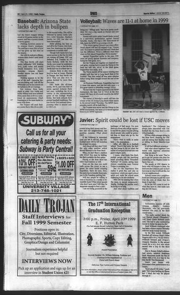 Daily Trojan, Vol. 136, No. 61, April 23, 1999