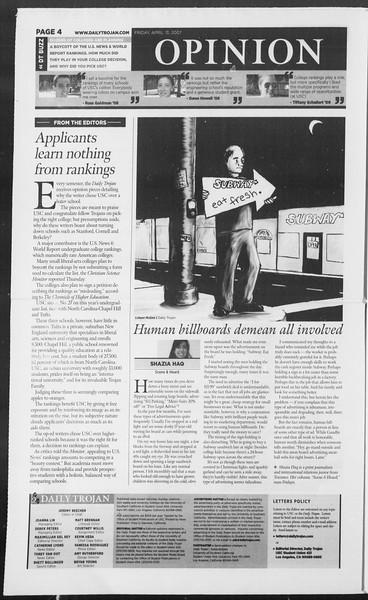 Daily Trojan, Vol. 160, No. 58, April 13, 2007