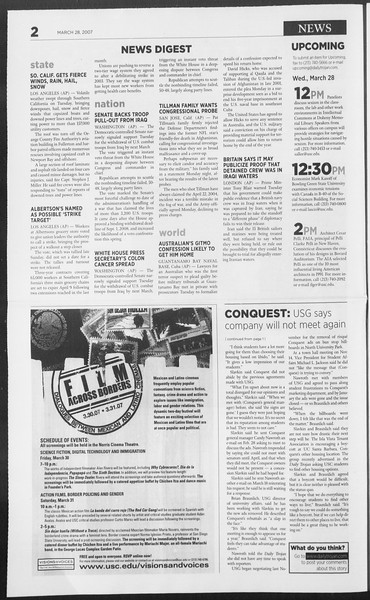 Daily Trojan, Vol. 160, No. 46, March 28, 2007