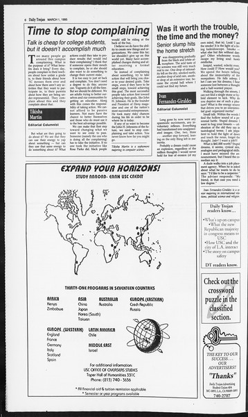 Daily Trojan, Vol. 124, No. 31, March 01, 1995