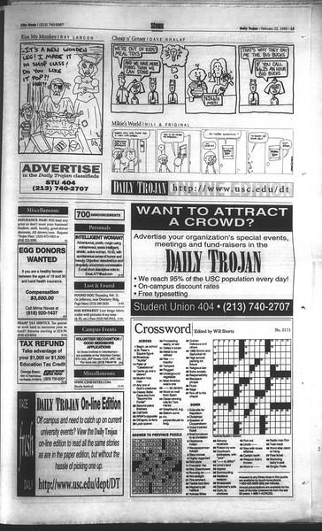 Daily Trojan, Vol. 136, No. 24, February 22, 1999