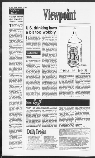 Daily Trojan, Vol. 124, No. 10, January 27, 1995