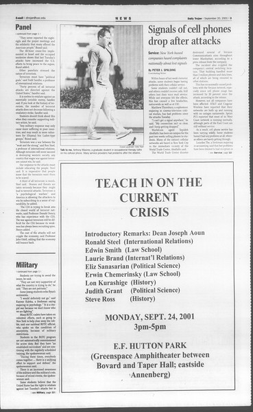 Daily Trojan, Vol. 144, No. 16, September 20, 2001