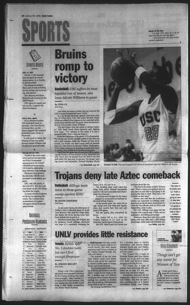 Daily Trojan, Vol. 136, No. 6, January 25, 1999