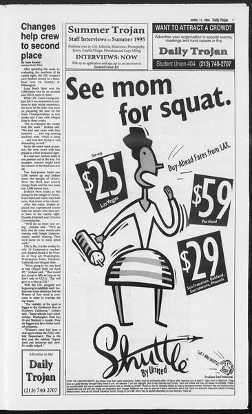 Daily Trojan, Vol. 124, No. 54, April 11, 1995