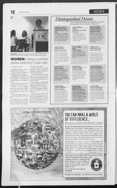 Daily Trojan, Vol. 160, No. 39, March 08, 2007