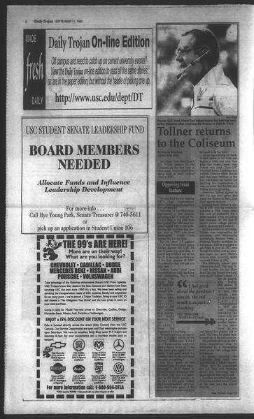 Daily Trojan, Vol. 135, No. 6, September 11, 1998