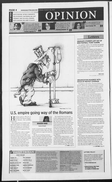 Daily Trojan, Vol. 160, No. 48, March 30, 2007