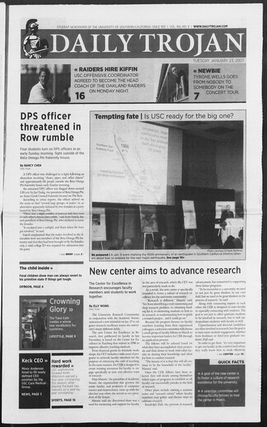 Daily Trojan, Vol. 160, No. 9, January 23, 2007