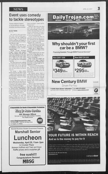 Daily Trojan, Vol. 160, No. 65, April 24, 2007