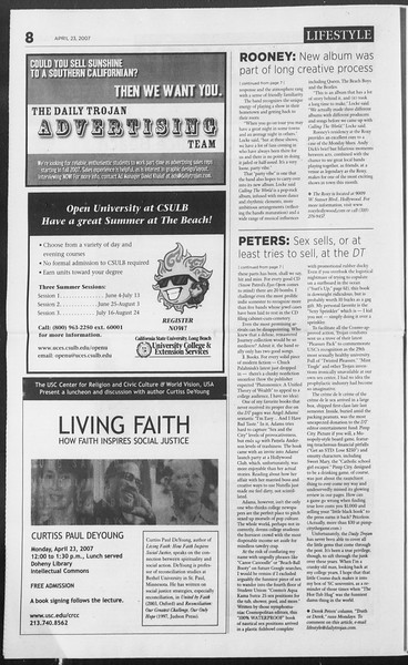 Daily Trojan, Vol. 160, No. 64, April 23, 2007
